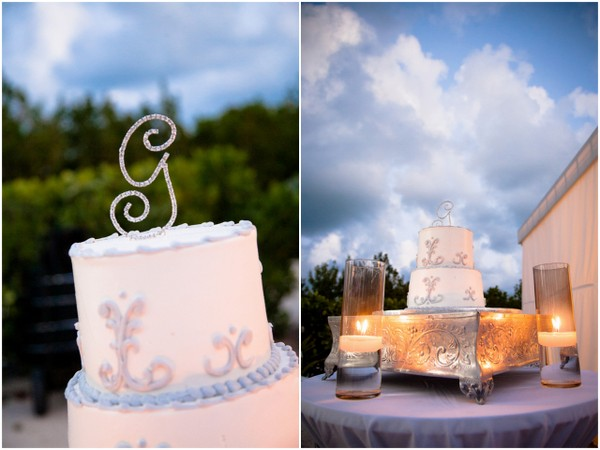 Silver & White Wedding Cake at Outdoor Wedding | Love Wed Bliss