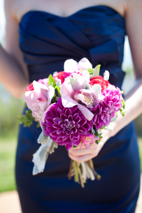 Navy Bridesmaid Outdoor Wedding