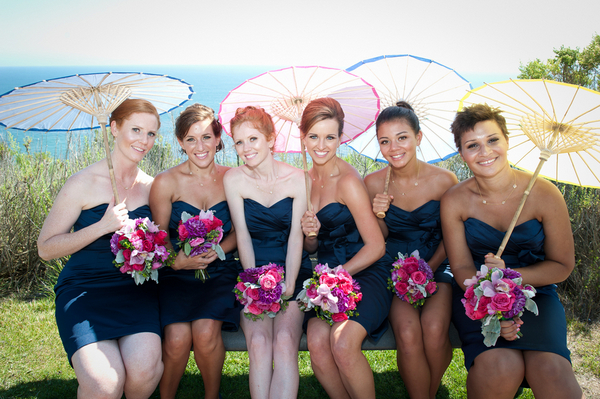 Pink Bridesmaids at Outdoor Wedding