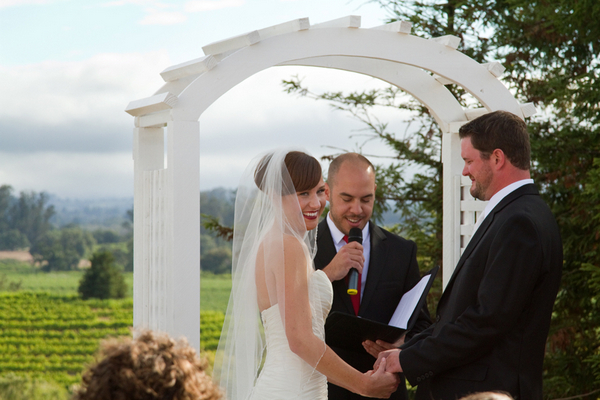 outdoor wedding ceremony napa valley Napa Valley Red and White Wedding by Cathy Stancil Photography