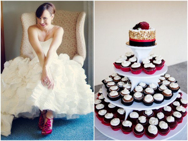 red and white wedding cupcakes Napa Valley Red and White Wedding by Cathy Stancil Photography