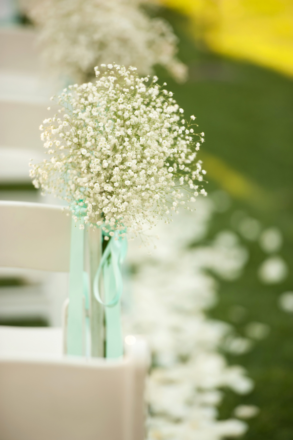 babys breath aisle decor Outdoor California Wedding at Miramonte Resort and Spa