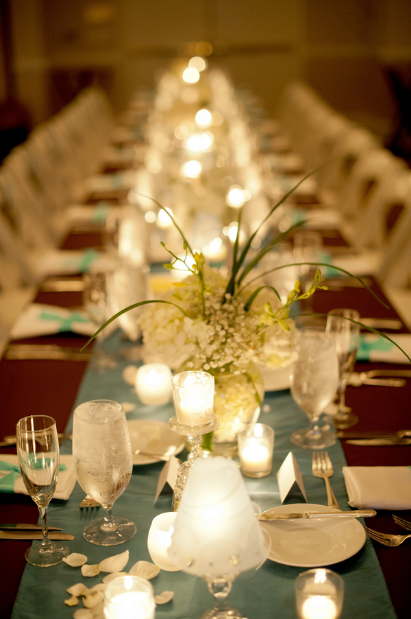 candlelit wedding table blue white Outdoor California Wedding at Miramonte Resort and Spa