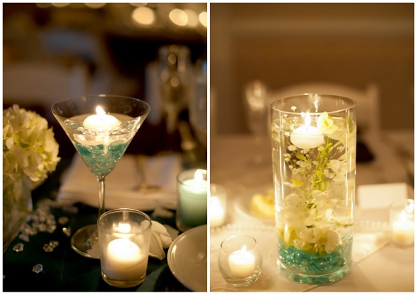 floating candle centerpieces Outdoor California Wedding at Miramonte Resort and Spa