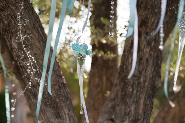hanging tree decorations for ceremony Outdoor California Wedding at Miramonte Resort and Spa
