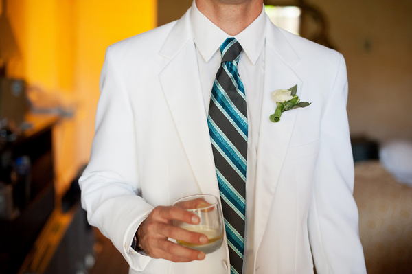 Teal Blue and White Groom's Outfit