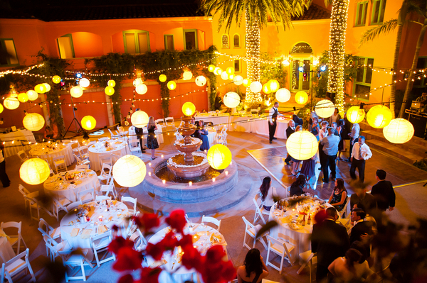 evening wedding reception redondo beach Yellow and Purple Wedding Theme in Redondo Beach California
