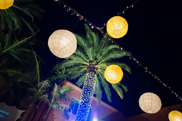 lanterns fairy lights outdoor wedding reception Yellow and Purple Wedding Theme in Redondo Beach California