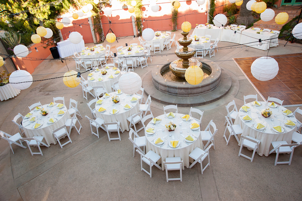 outdoor wedding reception redondo beach Yellow and Purple Wedding Theme in Redondo Beach California