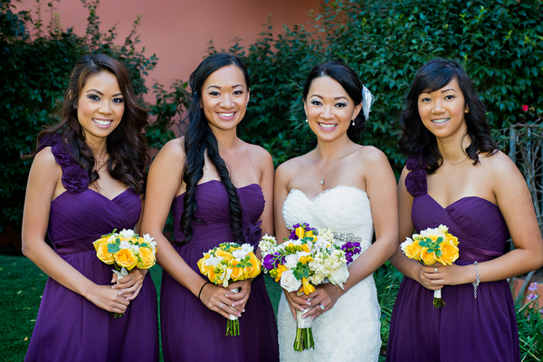 purple yellow bridesmaids Yellow and Purple Wedding Theme in Redondo Beach California