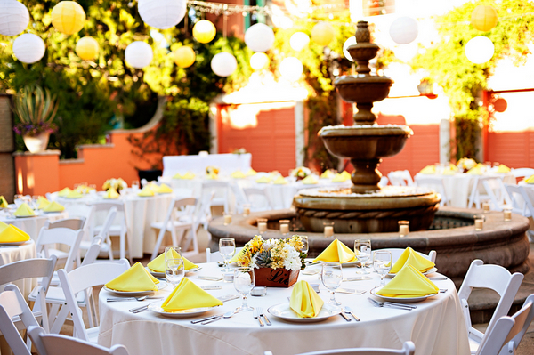 Yellow & Purple Wedding Reception in California