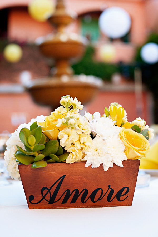 Yellow & White Wedding Centerpiece with Succulents