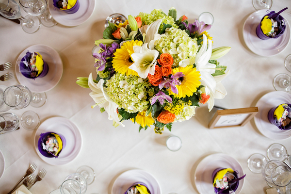 purple and white wedding reception table La Massaria At Bella Vista Wedding by Ashley Gerrity Photography