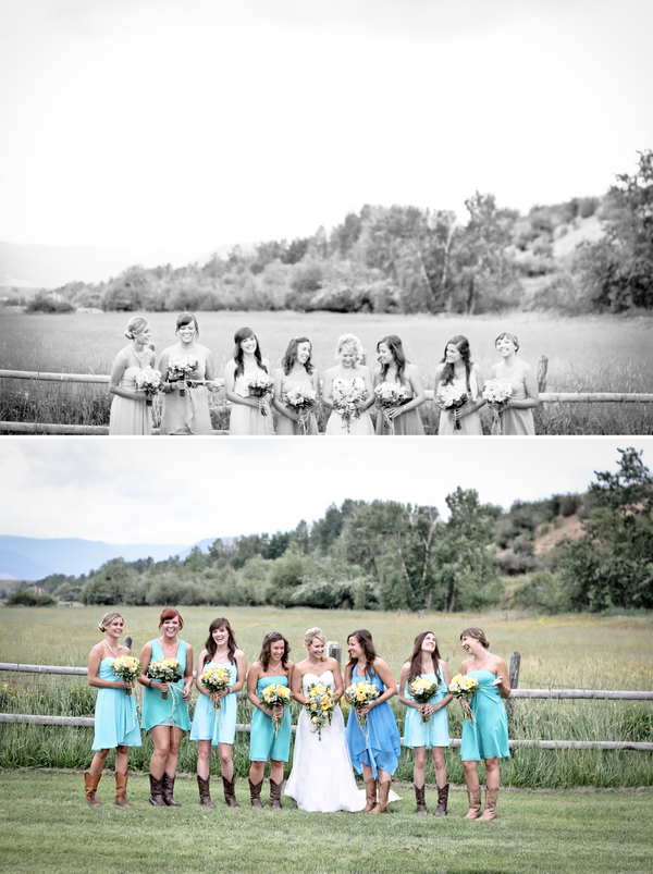 rustic bridemaids blue dresses Red Lodge Montana Wedding by Kat Skye Photography