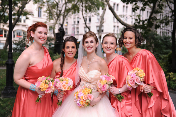 rustic chic wedding bridesmaids Rustic Chic Wedding in Uptown New York