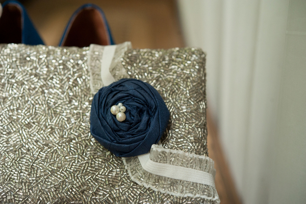 Vintage Style Blue & Silver Bridal Clutch | Love Wed Bliss