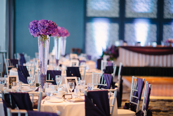 Elegant Purple & White Wedding Tables