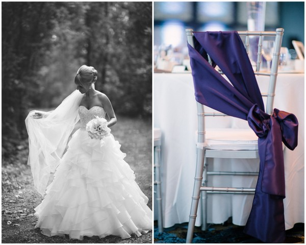 Purple & White Wedding Chair Decor
