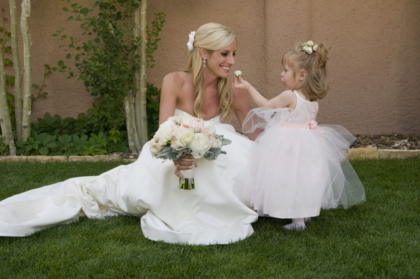 bride and flower girl parker colorado Elegant Silver and Pink Wedding at Villa Parker