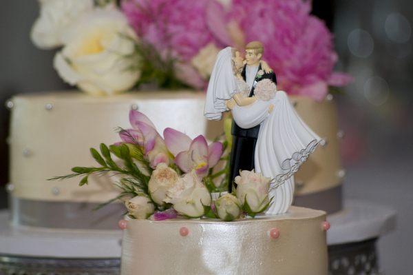 Elegant Cake Topper at Silver and Pink Wedding