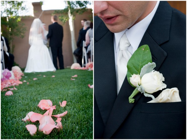 elegant outdoor ceremony colorado Elegant Silver and Pink Wedding at Villa Parker