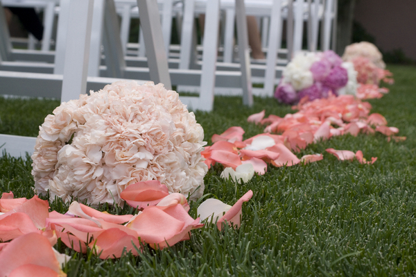 Elegant Pink & White Aisle Decorations