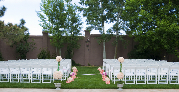elegant silver and pink ceremony Elegant Silver and Pink Wedding at Villa Parker