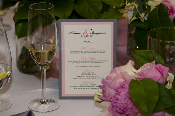 elegant silver and pink wedding menu Elegant Silver and Pink Wedding at Villa Parker