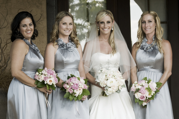 Elegant Silver Bridesmaids with Pink Bouquets