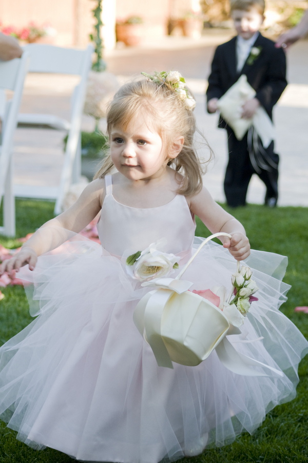flowergirl colorado wedding Elegant Silver and Pink Wedding at Villa Parker