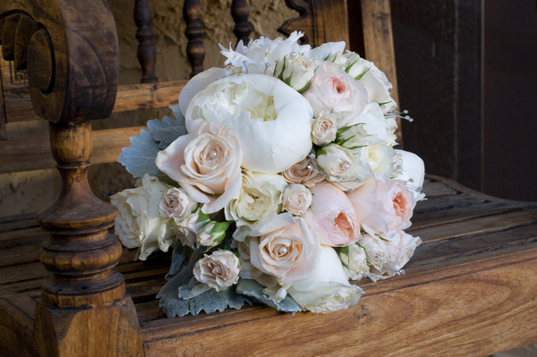 pastel pink and white bouquet with pearls Elegant Silver and Pink Wedding at Villa Parker