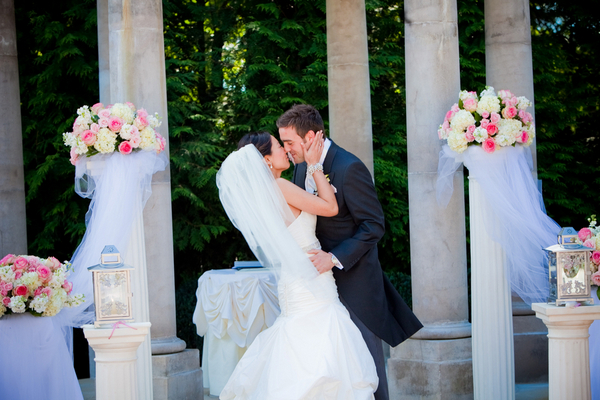 plum wedding ceremony Sophisticated Plum Wedding by Kamila Harris Photography