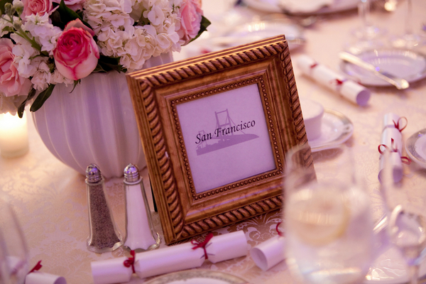 sophisticated wedding gold table names Sophisticated Plum Wedding by Kamila Harris Photography