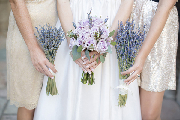 Lavender Bouquets & Gold Dresses