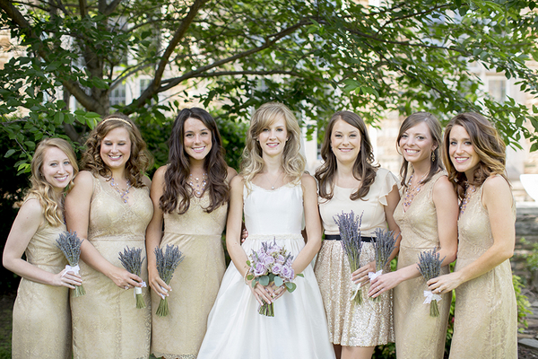 Vintage Inspired Gold Bridesmaids
