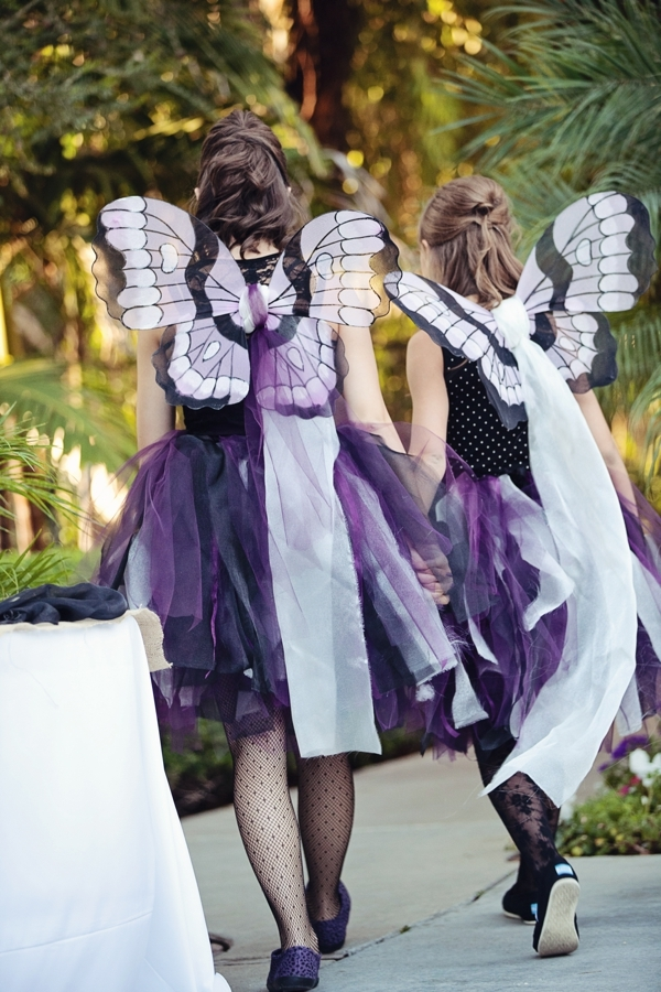 Halloween Wedding: Purple Bridesmaids with Fairy Wings