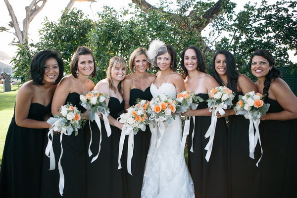 Bridesmaids at Black and Gold Wedding