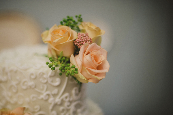 Peach Flowers on Vintage Wedding Cake