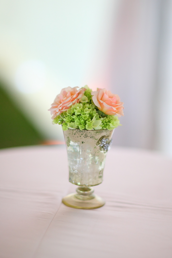 Pastel Pink & Silver Wedding Centerpiece