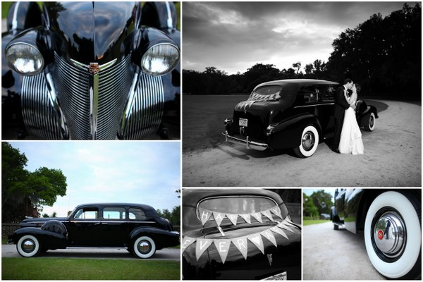vintage black wedding car Navy Blue and Pastel Pink Wedding by Studio 1250