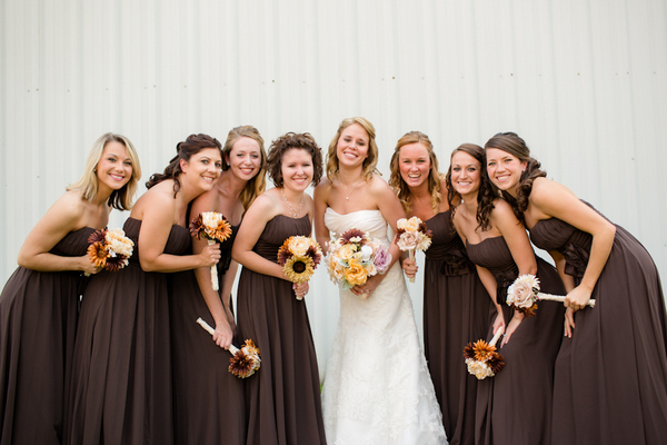 fall wedding vintage chic bridesmaids Vintage Chic Fall Wedding by J+A Photography