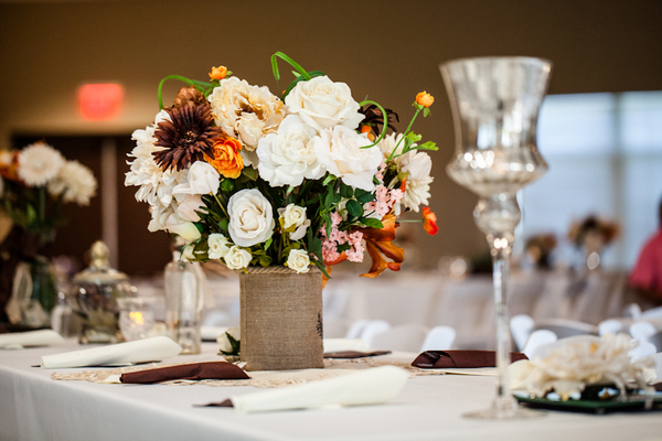 vintage chic fall wedding table Vintage Chic Fall Wedding by J+A Photography