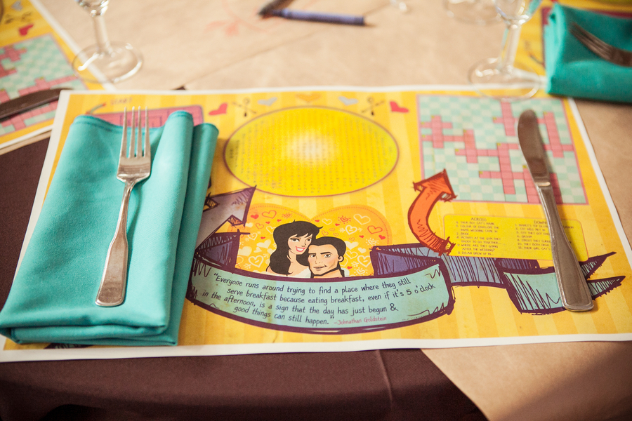 Cartoon Character Wedding Placemats | Love Wed Bliss