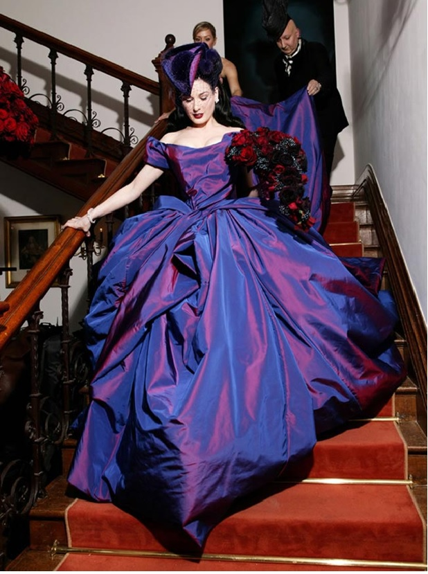 celebrity wedding gown purple How to Make a Coloured Wedding Dress Work for You