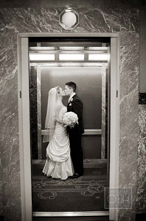 Bride & Groom in Empire State Building Elevator