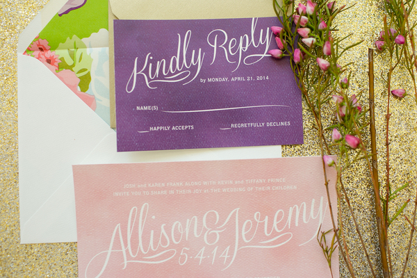 Gold and Purple Wedding Invitations Ideas