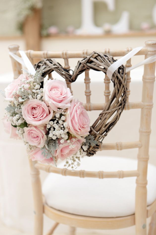 Wedding Chair Decor Pale Pink and Grey