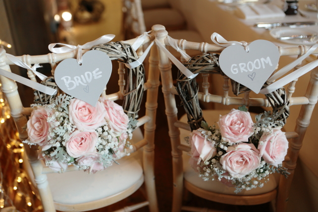 Wedding Chair Decor in Pink and Grey