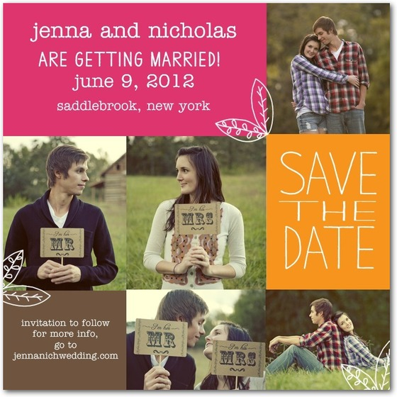Photo Save The Date: Homespun Leaves