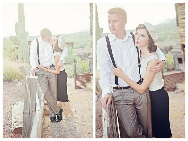 Bonnie and Clyde Theme Engagement Photos | Love Wed Bliss